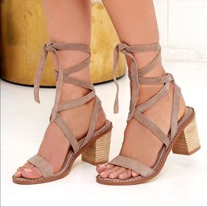Lace up taupe block heels